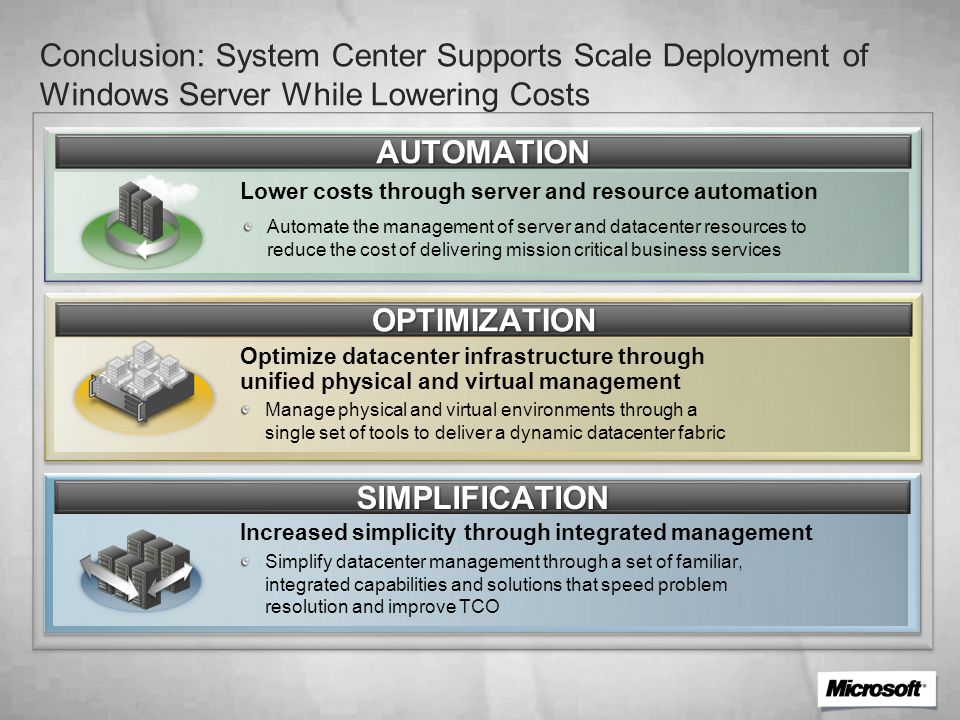 AUTOMATION Automate the management of server and datacenter resources to reduce the cost of delivering mission critical business services Lower costs through server and resource automation OPTIMIZATION Optimize datacenter infrastructure through unified physical and virtual management SIMPLIFICATION Increased simplicity through integrated management Manage physical and virtual environments through a single set of tools to deliver a dynamic datacenter fabric Simplify datacenter management through a set of familiar, integrated capabilities and solutions that speed problem resolution and improve TCO Conclusion: System Center Supports Scale Deployment of Windows Server While Lowering Costs