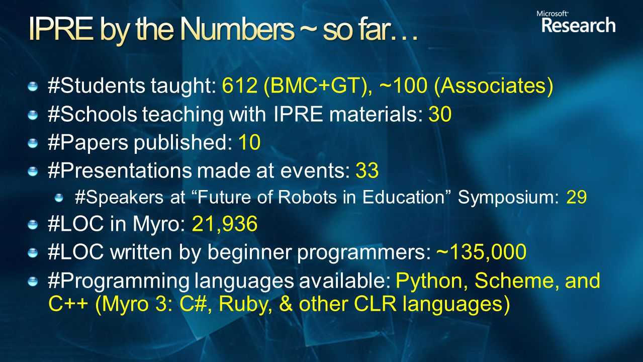 #Students taught: 612 (BMC+GT), ~100 (Associates) #Schools teaching with IPRE materials: 30 #Papers published: 10 #Presentations made at events: 33 #Speakers at Future of Robots in Education Symposium: 29 #LOC in Myro: 21,936 #LOC written by beginner programmers: ~135,000 #Programming languages available: Python, Scheme, and C++ (Myro 3: C#, Ruby, & other CLR languages)