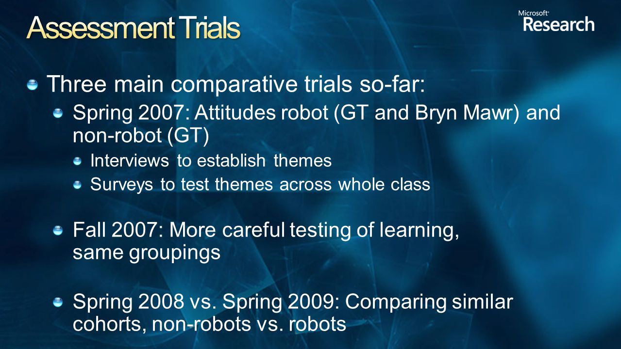 Three main comparative trials so-far: Spring 2007: Attitudes robot (GT and Bryn Mawr) and non-robot (GT)‏ Interviews to establish themes Surveys to test themes across whole class Fall 2007: More careful testing of learning, same groupings Spring 2008 vs.
