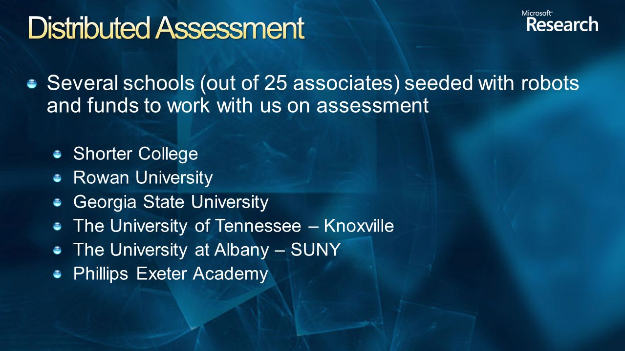 Several schools (out of 25 associates) seeded with robots and funds to work with us on assessment Shorter College Rowan University Georgia State University The University of Tennessee – Knoxville The University at Albany – SUNY Phillips Exeter Academy