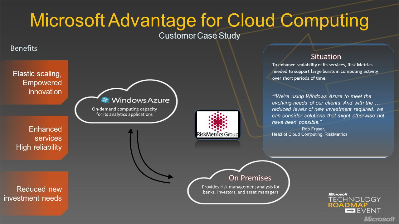 Microsoft Advantage for Cloud Computing Customer Case Study To enhance scalability of its services, Risk Metrics needed to support large bursts in computing activity over short periods of time.