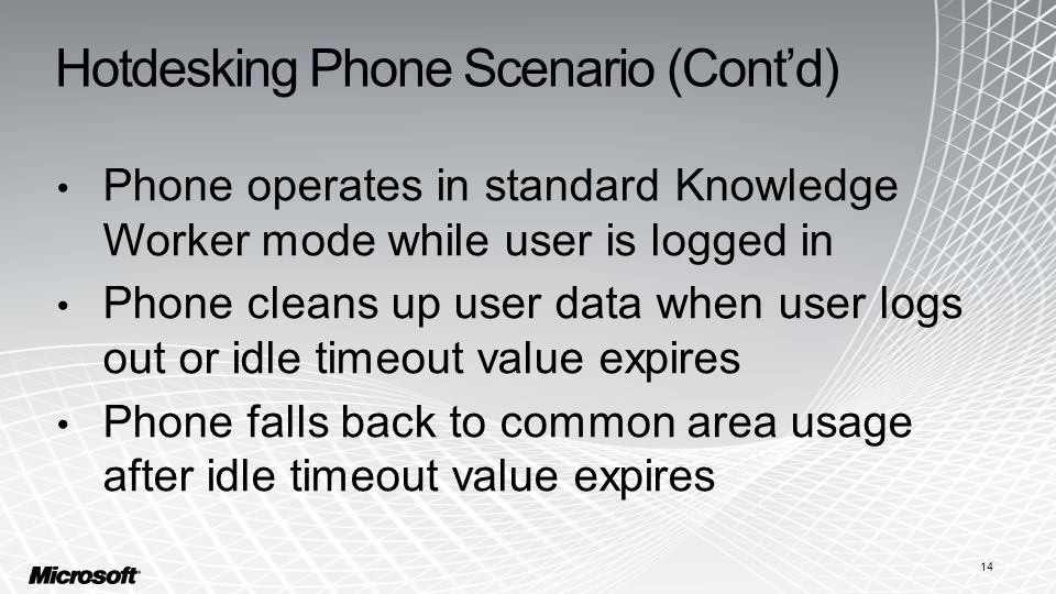 Hotdesking Phone Scenario (Cont'd) Phone operates in standard Knowledge Worker mode while user is logged in Phone cleans up user data when user logs o