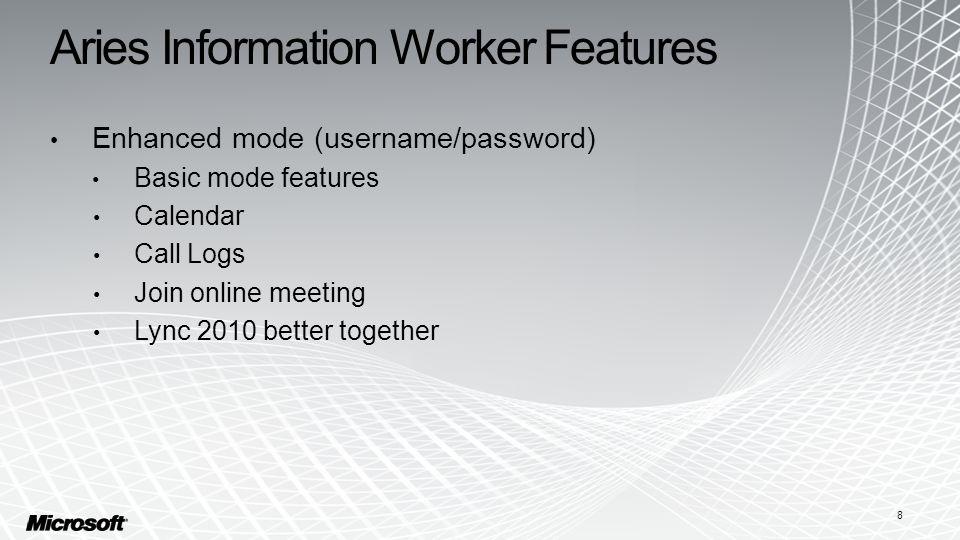 Aries Information Worker Features Enhanced mode (username/password) Basic mode features Calendar Call Logs Join online meeting Lync 2010 better together 8
