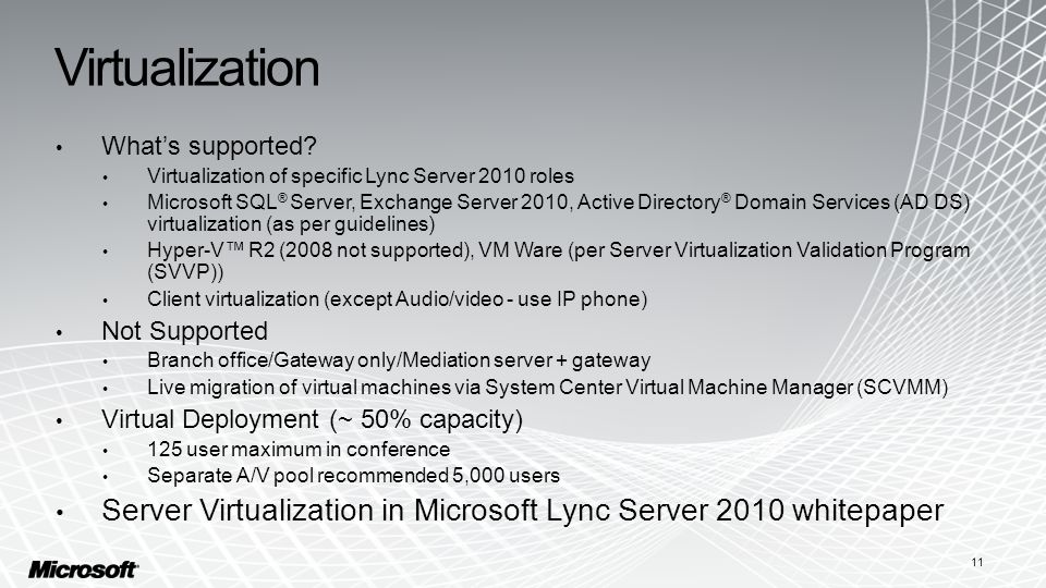 Virtualization What's supported.