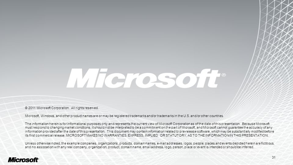 31 © 2011 Microsoft Corporation. All rights reserved.