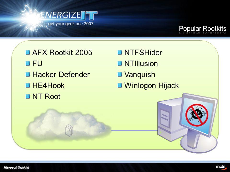 AFX Rootkit 2005 FU Hacker Defender HE4Hook NT Root NTFSHider NTIllusion Vanquish Winlogon Hijack