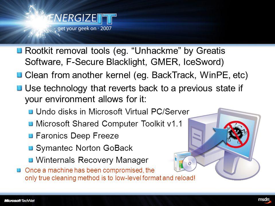 Rootkit removal tools (eg.
