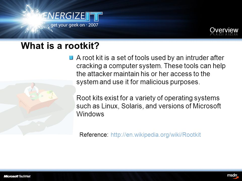 A root kit is a set of tools used by an intruder after cracking a computer system. These tools can help the attacker maintain his or her access to the