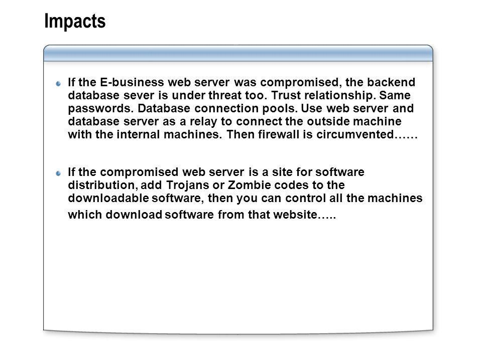 Impacts If the E-business web server was compromised, the backend database sever is under threat too.
