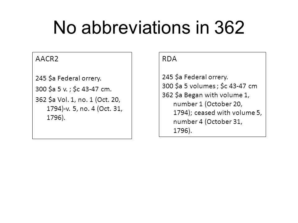 No abbreviations in 362 AACR2 245 $a Federal orrery.