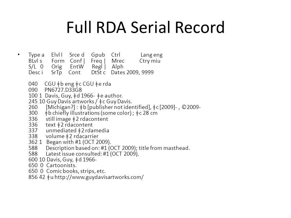 Full RDA Serial Record Type a Elvl I Srce d Gpub Ctrl Lang eng BLvl s Form Conf | Freq | Mrec Ctry miu S/L 0 Orig EntW Regl | Alph Desc i SrTp Cont DtSt c Dates 2009, 9999 040 CGU ǂb eng ǂc CGU ǂe rda 090 PN6727.D33G8 100 1 Davis, Guy, ǂd 1966- ǂe author.