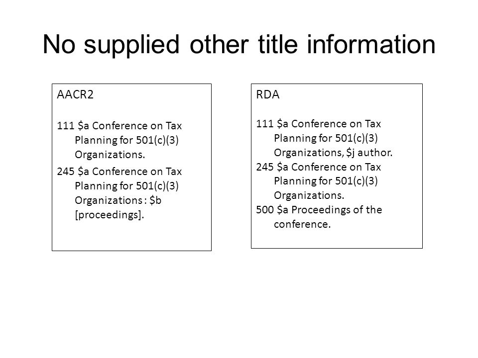 No supplied other title information AACR2 111 $a Conference on Tax Planning for 501(c)(3) Organizations.