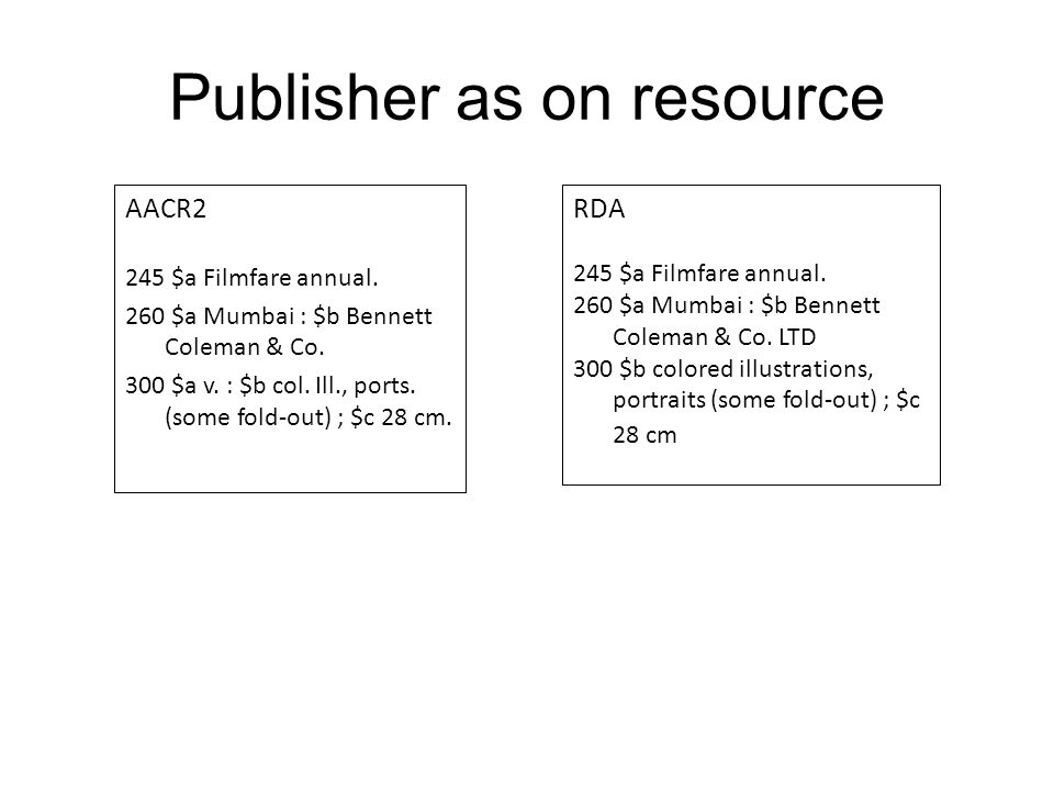 Publisher as on resource AACR2 245 $a Filmfare annual.