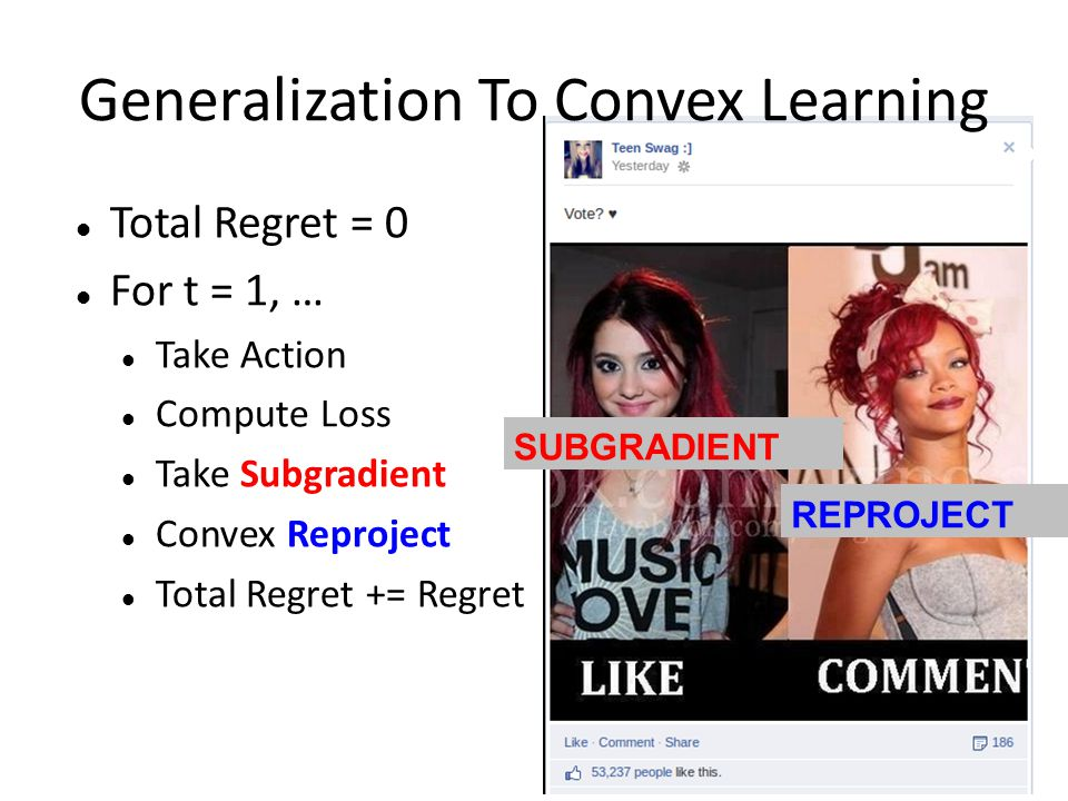 Generalization To Convex Learning Total Regret = 0 For t = 1, … Take Action Compute Loss Take Subgradient Convex Reproject Total Regret += Regret SUBGRADIENT REPROJECT