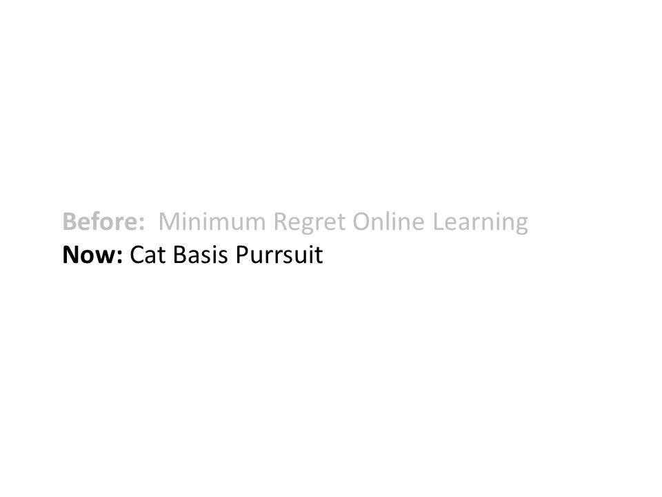 Before: Minimum Regret Online Learning Now: Cat Basis Purrsuit