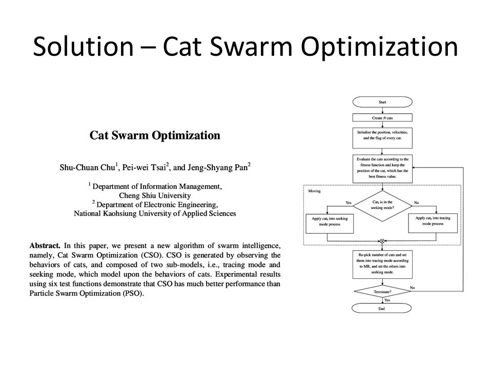 Solution – Cat Swarm Optimization