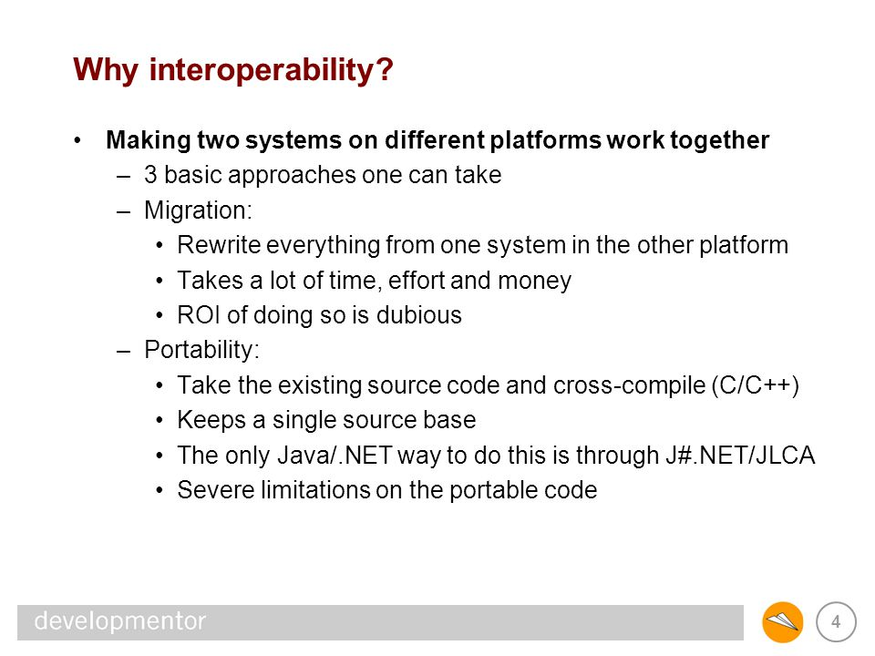 15 Interoperability points XML & Web services are tomorrow s interop –it s clear the future belongs to the angle-bracket crowd –but a lot of that infrastructure just doesn t exist XML & Web services are n-platform interop –where n is a large number (> 2), there s no other way to go –where n == 2 (Java and.NET), other options are possible