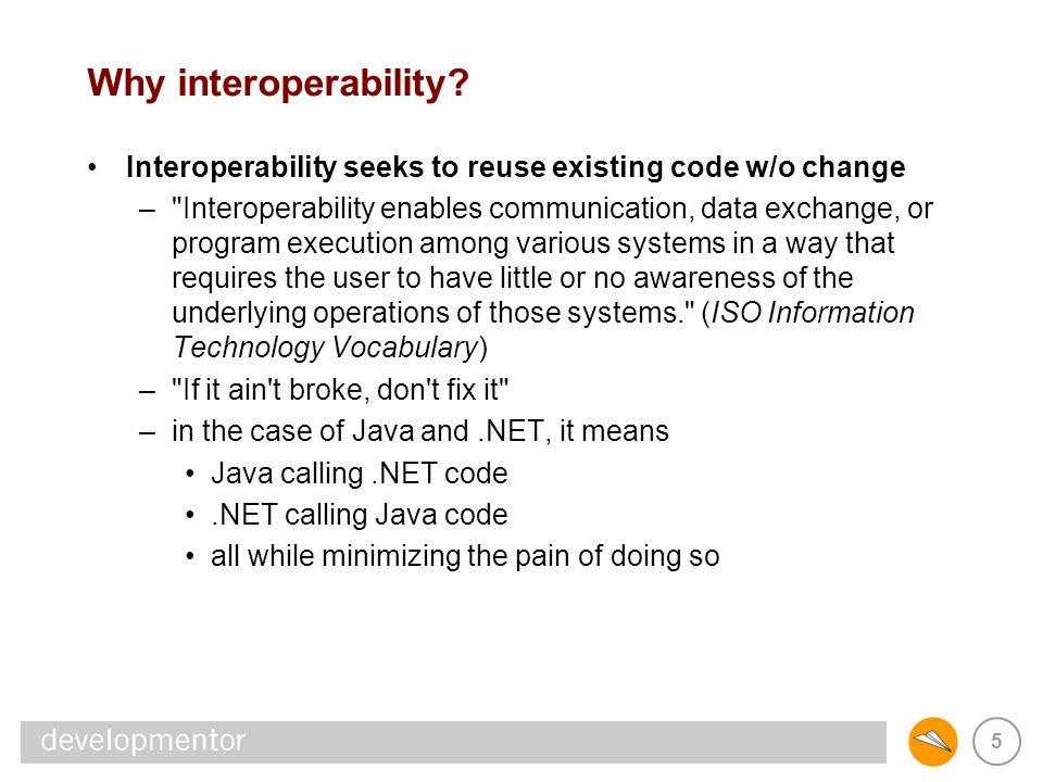 16 J2EE/.NET Interoperability In-process interoperability –Java and the CLR coexisting in the same process – JNI meets Managed C++ Data exchange –using XML as the data-exchange format –.NET: XSD.exe and XmlSerializer –Java: Java API for XML Binding (JAXB) RPC and WSDL –binary RPC toolkits like JaNET, JNBridge, Janeva, IIOP.NET –WSDL is often used as IDL-with-angle-brackets Messaging –JMS, MSMQ, Simple messaging