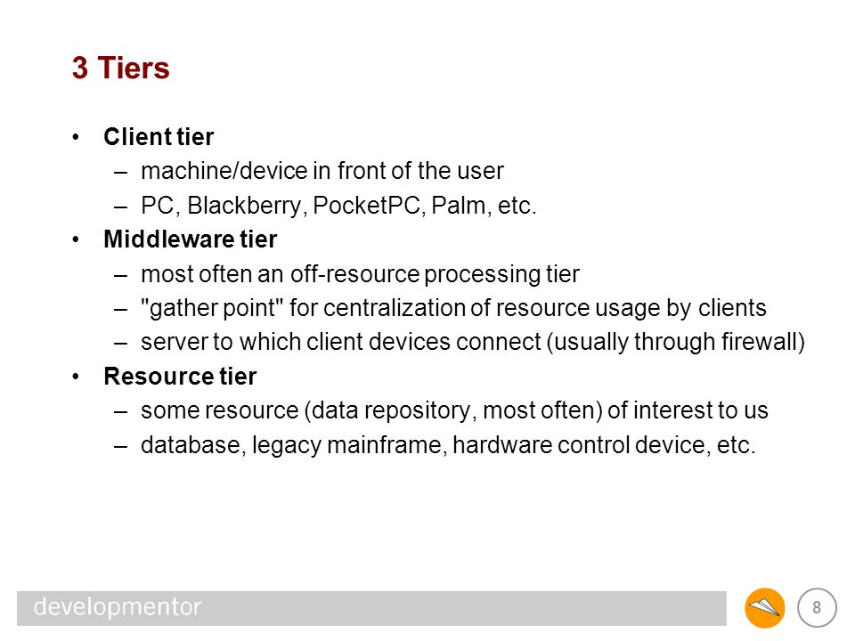 9 3 Layers Presentation layer –responsible for the elements used to display data –in thin-client apps, generates and sends back the HTML –or, could be a Java WebStart- or Click-Once-deployed GUI Business layer –represents the business processing that s UI-independent –what most people are referring to when they say middle tier –where most domain-specific programming goes Data access layer –code used to access the resource tiers (database) –often deployed with business layer code; not always (sprocs)