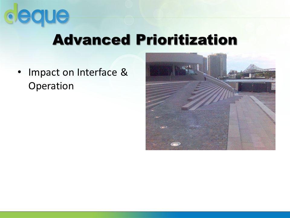 Advanced Prioritization Impact on Interface & Operation