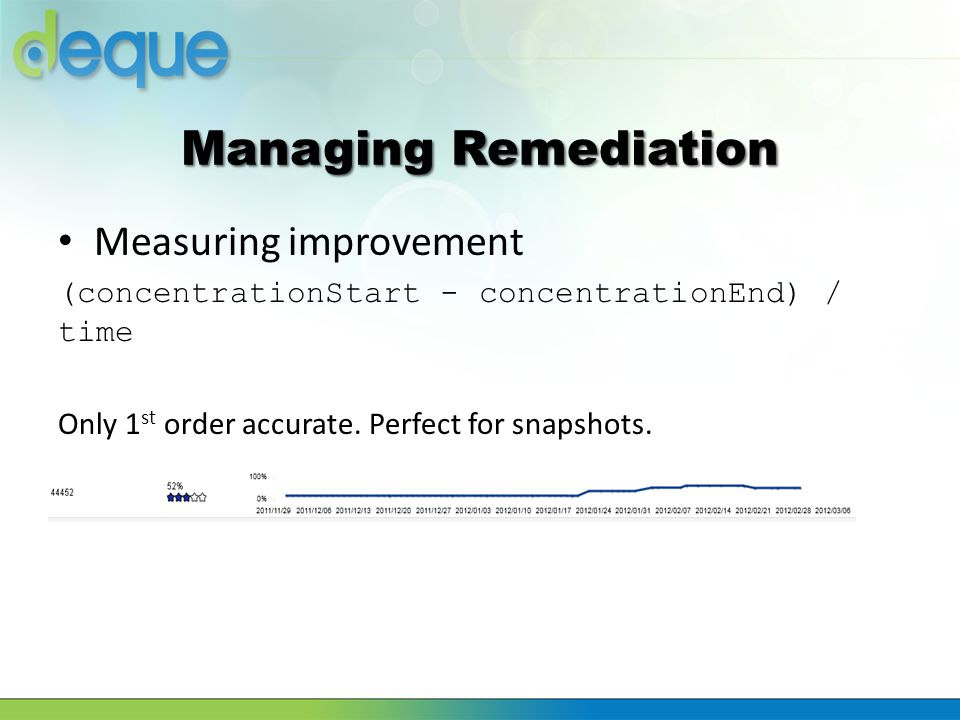 Measuring improvement (concentrationStart - concentrationEnd) / time Only 1 st order accurate. Perfect for snapshots.