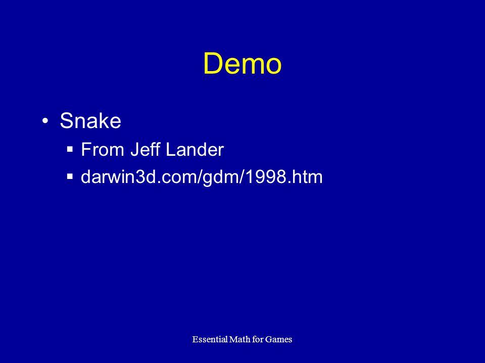 Essential Math for Games Demo Snake  From Jeff Lander  darwin3d.com/gdm/1998.htm