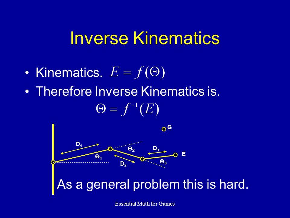 Essential Math for Games Inverse Kinematics Kinematics.