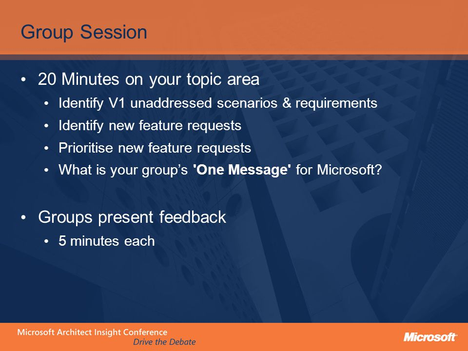 Group Session 20 Minutes on your topic area Identify V1 unaddressed scenarios & requirements Identify new feature requests Prioritise new feature requ