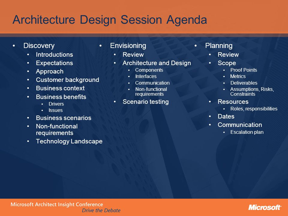 Architecture Design Session Agenda Discovery Introductions Expectations Approach Customer background Business context Business benefits Drivers Issues Business scenarios Non-functional requirements Technology Landscape Envisioning Review Architecture and Design Components Interfaces Communication Non-functional requirements Scenario testing Planning Review Scope Proof Points Metrics Deliverables Assumptions, Risks, Constraints Resources Roles, responsibilities Dates Communication Escalation plan