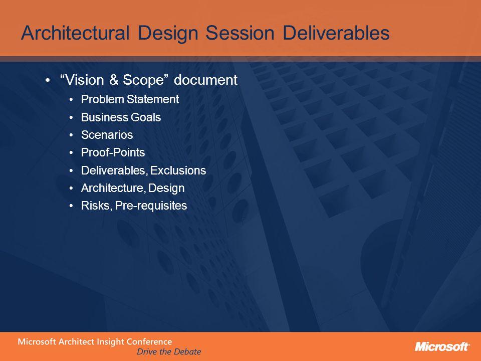 Architectural Design Session Deliverables Vision & Scope document Problem Statement Business Goals Scenarios Proof-Points Deliverables, Exclusions Architecture, Design Risks, Pre-requisites