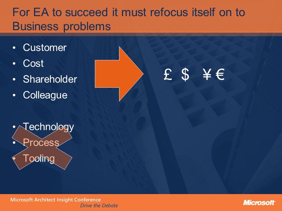 For EA to succeed it must refocus itself on to Business problems Customer Cost Shareholder Colleague Technology Process Tooling £ $ ¥ €