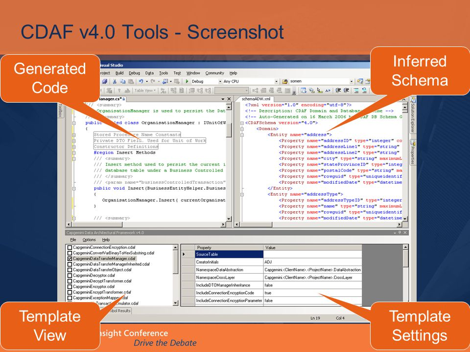 CDAF v4.0 Tools - Screenshot Template View Generated Code Inferred Schema Template Settings