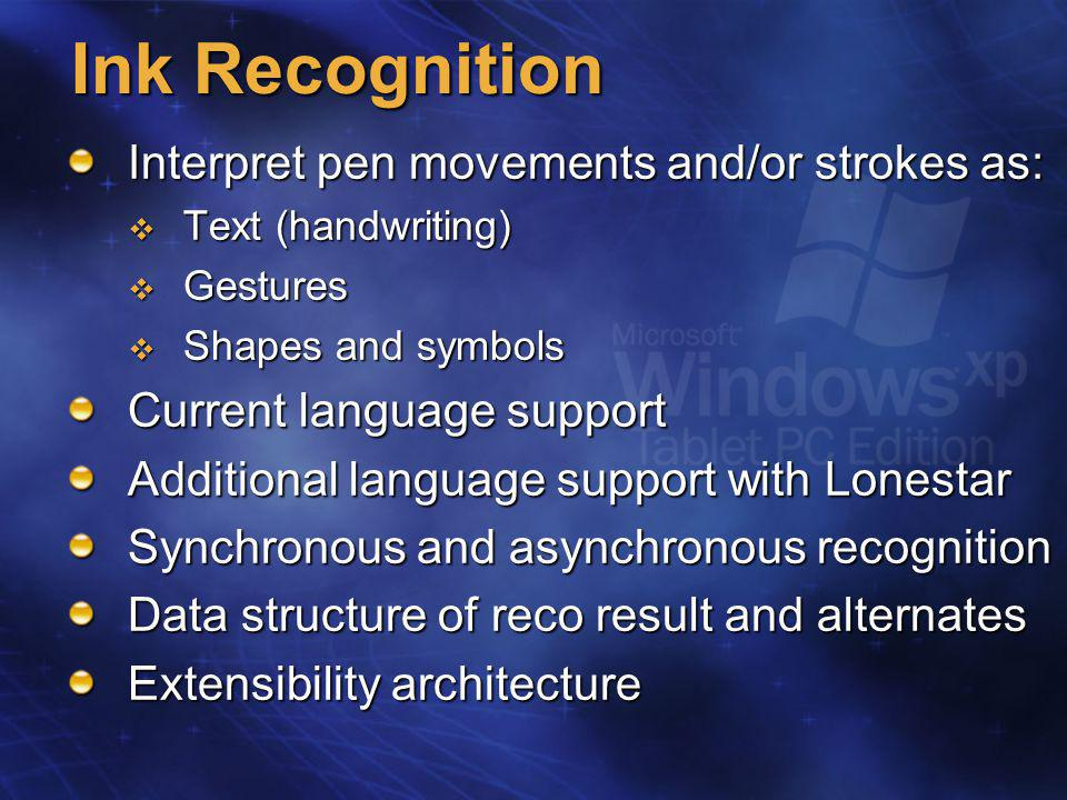 Ink Object Container for:  Stroke data  Metadata  Contextual awareness info Controls all means of persistence Extensible via ExtendedProperties property