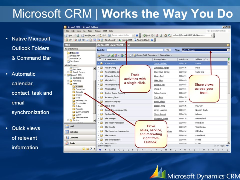 Microsoft CRM | Works the Way You Do Native Microsoft Outlook Folders & Command Bar Automatic calendar, contact, task and email synchronization Quick