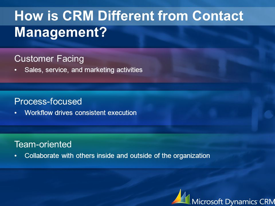 How is CRM Different from Contact Management? Customer Facing Sales, service, and marketing activities Process-focused Workflow drives consistent exec