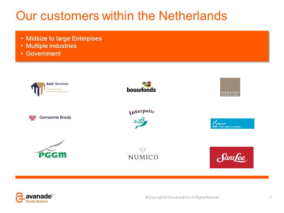 © Copyright 2010 Avanade Inc. All Rights Reserved. Our customers within the Netherlands 7 iddelgrote tot grote organisaties Alle industrieën Overheids