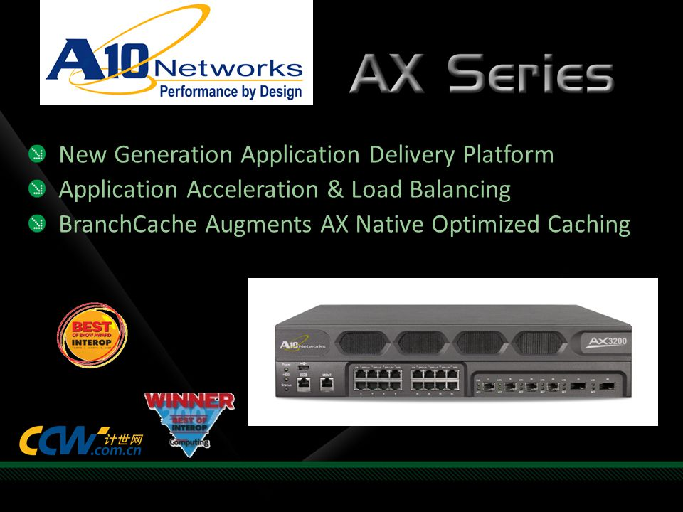 New Generation Application Delivery Platform Application Acceleration & Load Balancing BranchCache Augments AX Native Optimized Caching