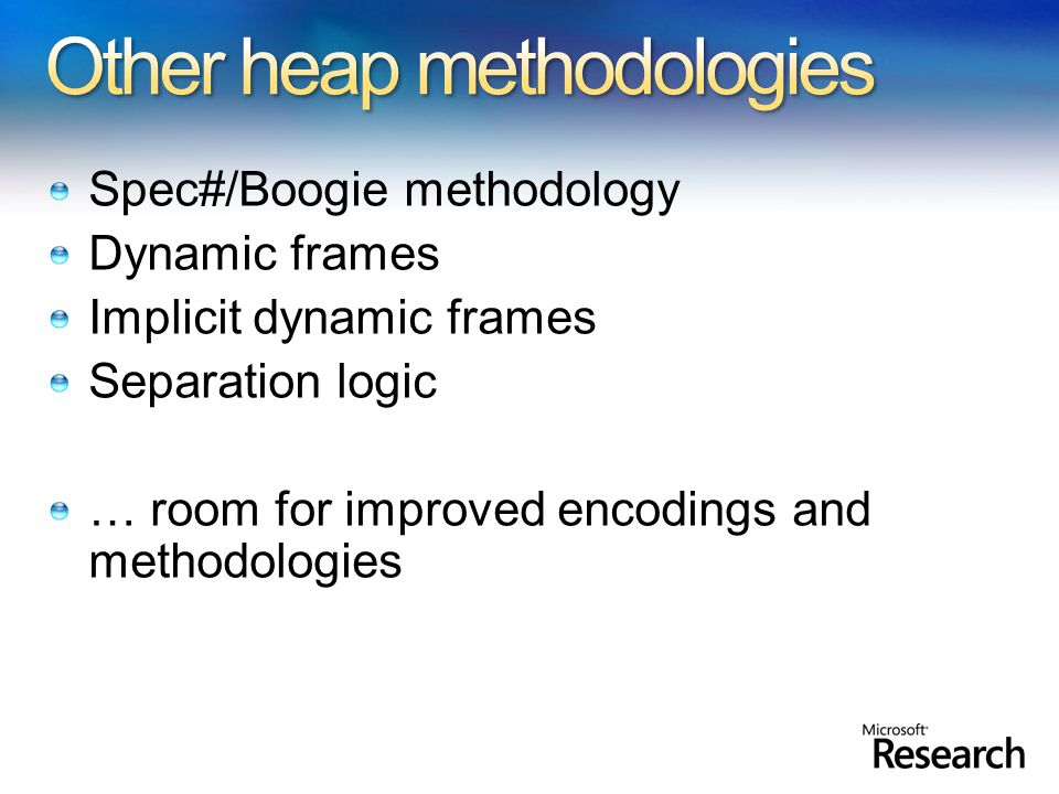 Spec#/Boogie methodology Dynamic frames Implicit dynamic frames Separation logic … room for improved encodings and methodologies