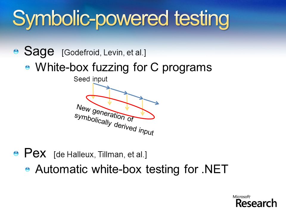 Sage [Godefroid, Levin, et al.] White-box fuzzing for C programs Pex [de Halleux, Tillman, et al.] Automatic white-box testing for.NET Seed input New generation of symbolically derived input