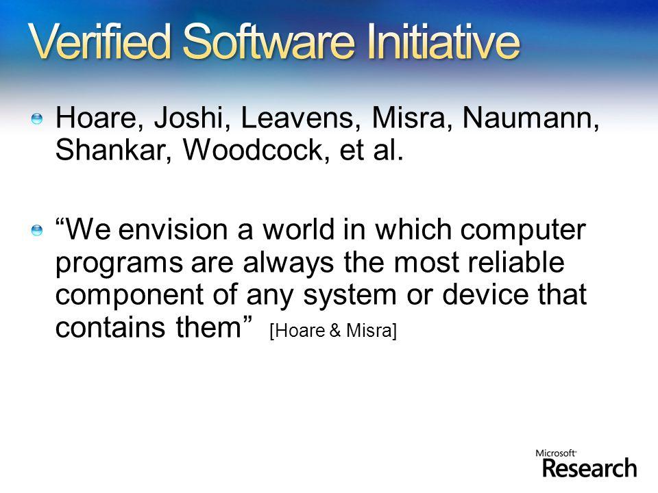 Hoare, Joshi, Leavens, Misra, Naumann, Shankar, Woodcock, et al.