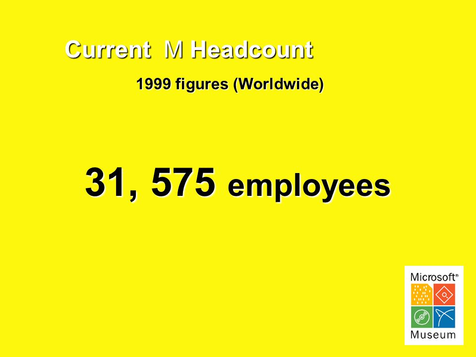 Current M Headcount 1999 figures (Worldwide) 31, 575 employees