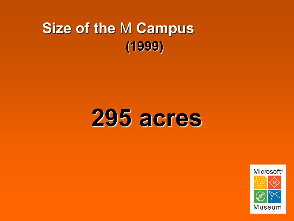 Size of the M Campus (1999) (1999) 295 acres