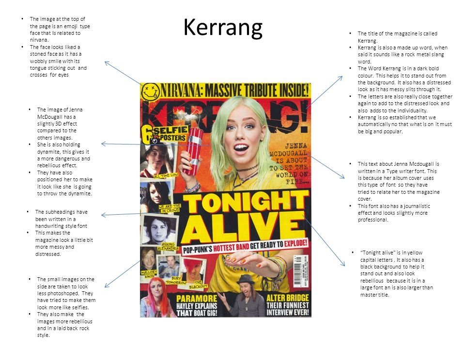 Kerrang The title of the magazine is called Kerrang.