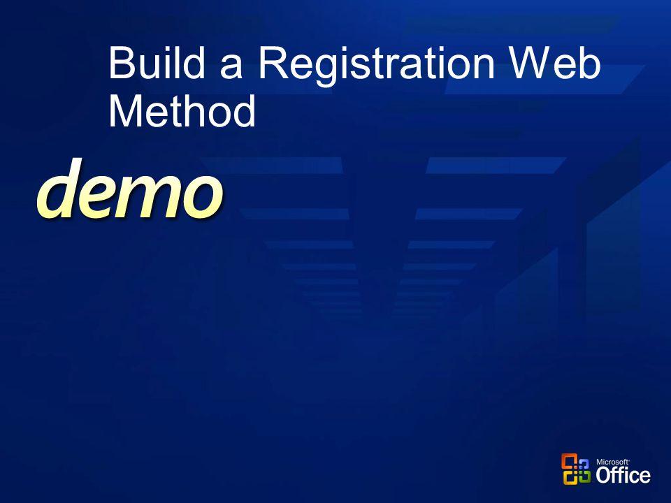 Build a Registration Web Method