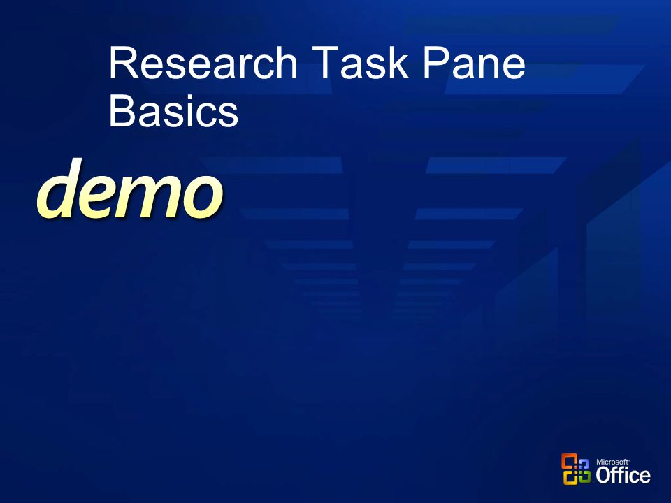 Research Task Pane Basics