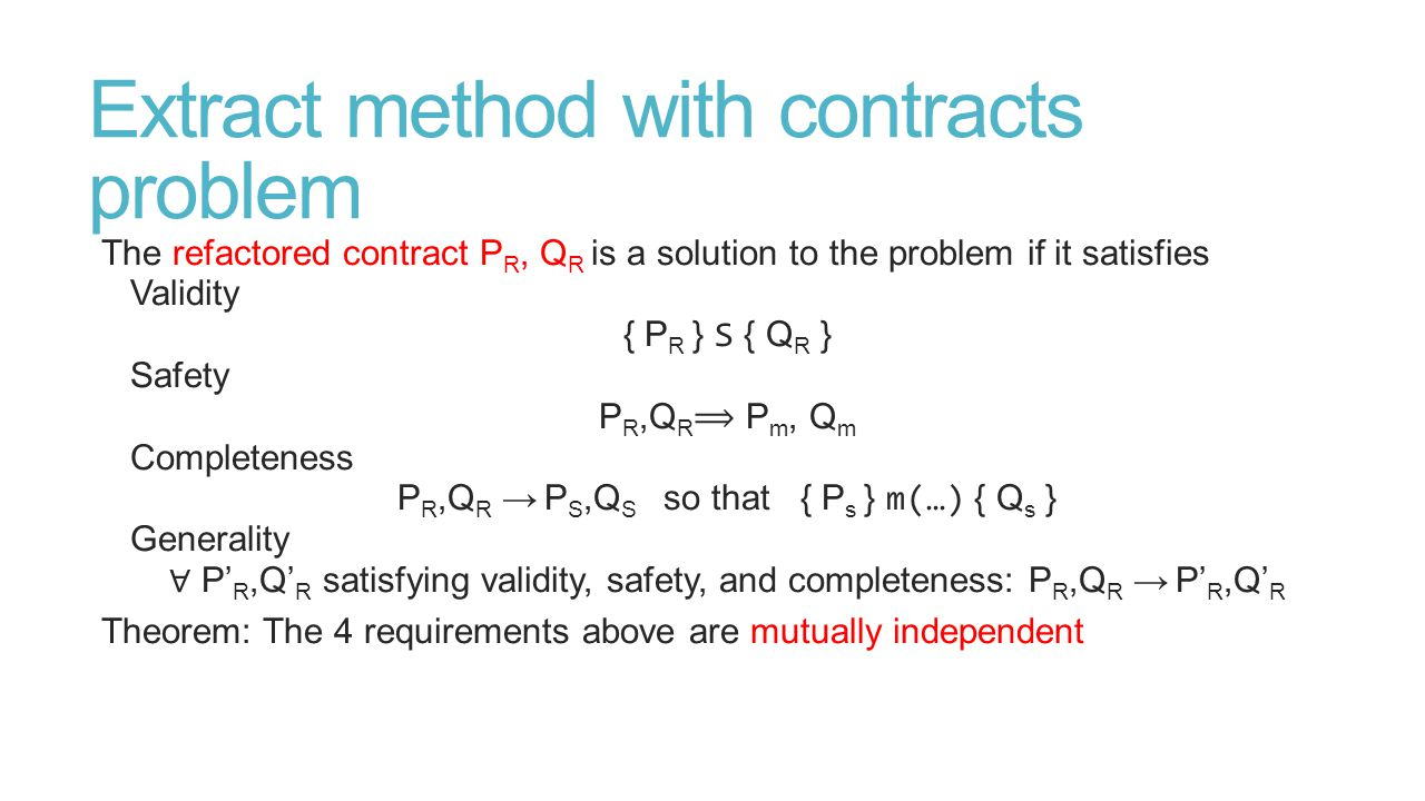 Extract method with contracts problem The refactored contract P R, Q R is a solution to the problem if it satisfies Validity { P R } S { Q R } Safety P R,Q R P m, Q m Completeness P R,Q R → P S,Q S so that { P s } m(…) { Q s } Generality ∀ P' R,Q' R satisfying validity, safety, and completeness: P R,Q R → P' R,Q' R Theorem: The 4 requirements above are mutually independent
