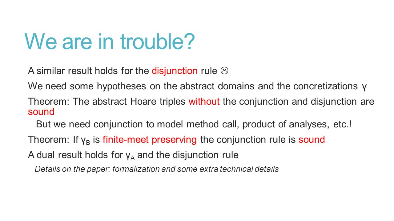 We are in trouble? A similar result holds for the disjunction rule  We need some hypotheses on the abstract domains and the concretizations γ Theorem