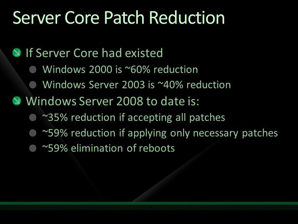 Server Core Resources Server Core Blog http://blogs.technet.com/server_core/default.aspx Newsgroups http://forums.technet.microsoft.com/en- US/winservercore/threads/ http://forums.msdn.microsoft.com/en- US/servercorefordevelopers/threads/ Step-by-Step Guide Online at http://technet2.microsoft.com/windowsserver/longhorn/en/library/ba b0f1a1-54aa-4cef-9164-139e8bcc44751033.mspx?mfr=true Download in Word Document in the Download Center http://download.microsoft.com/ E-mail srvcfdbk@microsoft.com