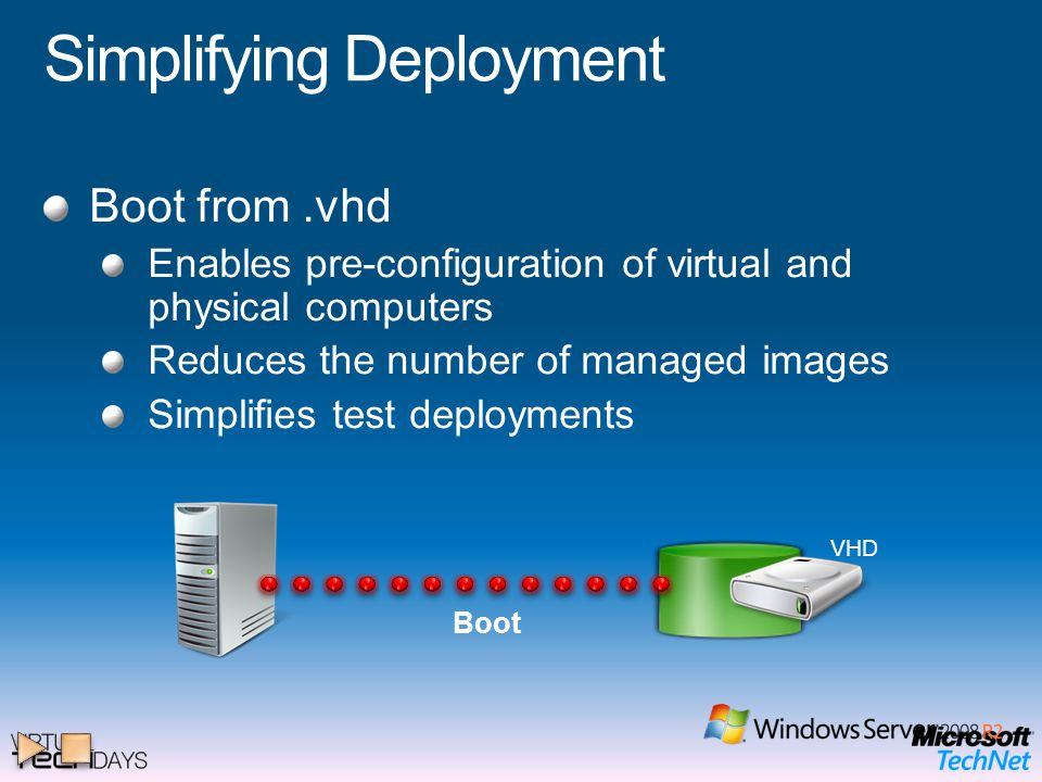Simplifying Deployment Boot from.vhd Enables pre-configuration of virtual and physical computers Reduces the number of managed images Simplifies test deployments Boot VHD