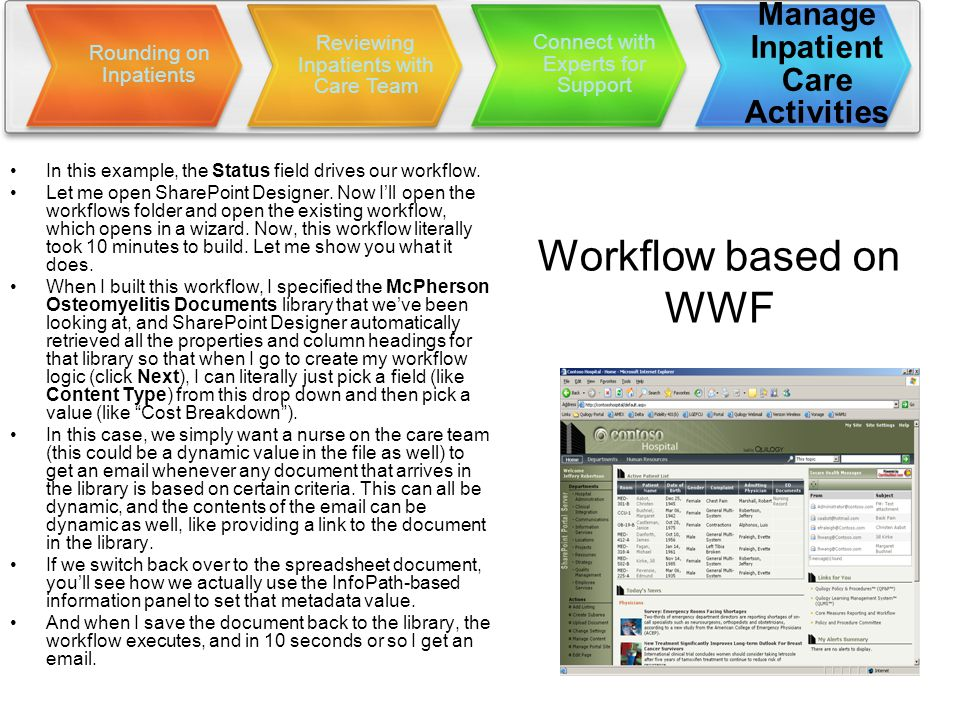 Workflow based on WWF In this example, the Status field drives our workflow.